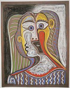 Portrait de femme , original pastel signed Picasso