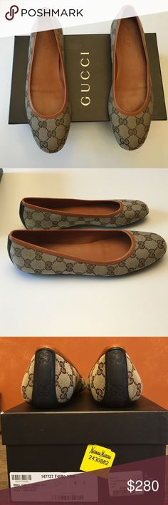 Gucci Flats Brown/beige monogram fabric. Gucci logo sole and back heel. Leather trim. Never worn - in PRISTINE condition. Size 8. Gucci Shoes Flats & Loafers