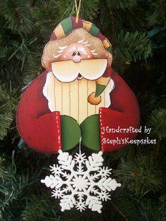 Hand Painted Santa Ornament by stephskeepsakes on Etsy, $7.50