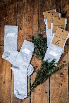 BIAŁY MIŚ dla dziewczyny by RISK Made in Warsaw = cute girlie socks