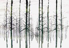 Unica zeefdruk bomen behang