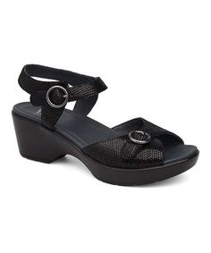 Another great find on #zulily! Black Lizard June Leather Sandal #zulilyfinds