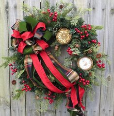 In this Christmas Wreath, an elegant wired plaid bow is the focal point. Gorgeous realistic pine cedar, and berries add depth. A pair of beautiful Tartan Christmas, Christmas Door, Country Christmas, Christmas Photos, Christmas Holidays, Vintage Christmas, Christmas Crafts, Holiday Wreaths, Holiday Fun