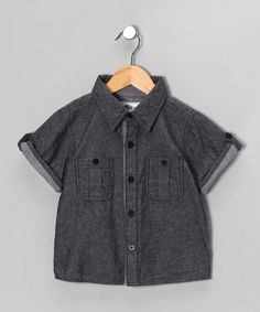 Grey Chambray Shirt - Infant, Toddler & Boys by KAPITAL K on #zulilyUK today! A wardrobe staple for any little lad, this comfy chambray shirt is sweet, stylish and ultra-easy to wear with a soft cotton design. Pair with jeans for a cute-casual outfit or smarten up with black trousers.