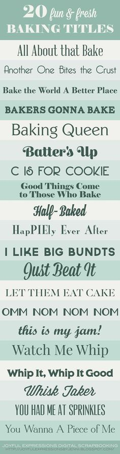 20 Fun & Fresh Baking Themed Scrapbooking Page Titles from Joyful Expressions #ad