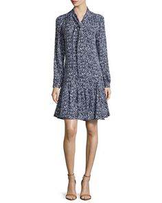 Floral-Print+Front-Tie+Dress,+Optic+White/Indigo+by+Michael+Kors+at+Neiman+Marcus.