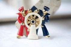 Vintage 1960s LISNER Brooch Red White and Blue Sailors by syrtis4, $45.00