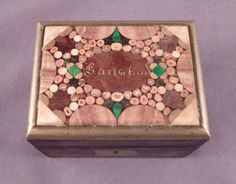 Antique Karlsbad Pietra Dura Inlayed Stone Small Wooden Box c1900 Micro Mosaic | eBay