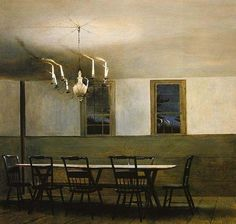 "One of my all-time favorites by Andrew Wyeth. The composition is radically ""wrong"", the mystery is deep. In a word, audacious."
