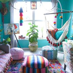 "Indoor Hammock Chair ideas - 😍 So much life and charm in this eclectic home decor. ✨ ""Eclectic"" is a popular adjective - Bohemian House, Bohemian Interior, Bohemian Decor, Bohemian Style, Modern Bohemian, Indoor Hammock Chair, Colourful Living Room, My New Room, Room Decor Bedroom"