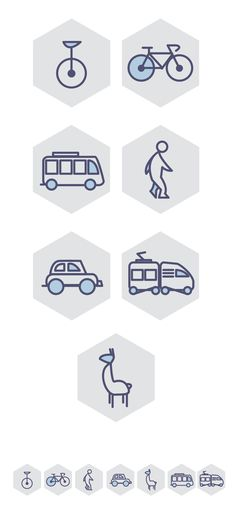 Transport icon set // Choose your way by Mariagloria Posani, via Behance