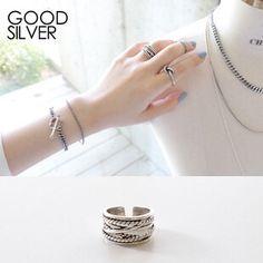 S925纯银层叠缠绕设计麻花链条复古泰银戒指环女饰品百搭配衣服