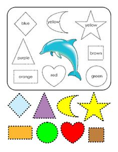 Options: Tracing, Cut and Paste, Learning Shapes. Shape Worksheets For Preschool, Shapes Worksheets, Orange And Purple, Blue Brown, Yellow, Brown Colors, Kindergarten Curriculum Guide, Tracing Shapes, Life Skills Activities
