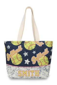 Customize this awesome softball tote with your ball players name and number.