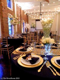 RSVP: The RiverRoom Blog: December 2013. Rachel & Robert black, white, and gold 50's glam wedding cake. Centerpieces.