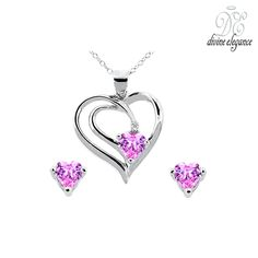 2-Piece Set: Divine Elegance Pink Cubic Zirconia Pendant & Earrings in Sterling Silver at 89% Savings off Retail!