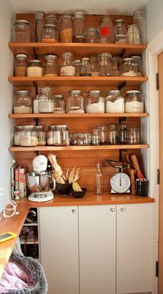 Not sure if I like the shelves or the glass jars most.