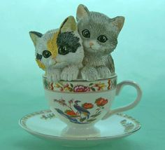 Purfct Tealightful Curio Cabinet Cats Kutani Bird Teacup Kitty Figurine Hamilton | eBay
