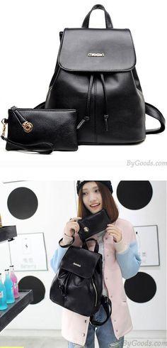 Leisure Simple Black PU School Travel Gift Clutch Bag Backpack for big sale ! #bag #school #backpack #college #cute #leisure