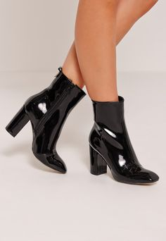 cacf35aa8ebeae Add a fierce touch with these sleek heeled ankle boots black Bottines  Vernies Femme, Bottes