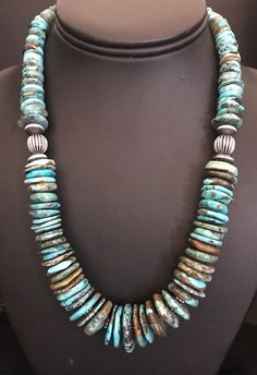Native American Sterling Silver Graduated Natural Turquoise Bead Necklace.