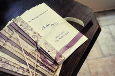 DIY Wedding Programs trimmed with a mix of scrapbook papers