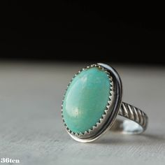 Blue Turquoise Ring Sterling Silver Ring Southwest Ring by 36ten, $65.00