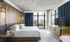 In the heart of Nashville's bustling Midtown neighbourhood, the Kimpton group's ever-growing portfolio has caught wind of the Music City's fast-paced revival with the opening of The Aertson Hotel. Designed in collaboration with San Francisco-based firm. Hotel Lobby, Book A Hotel Room, Hotel Safe, Hotel Room Design, Hospitality Design, Luxury Bedding, Great Rooms, Bedding Sets, Comforter