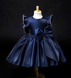 Girly Shop's Navy Blue Beautiful Round Neckline Beaded Ruffle Sleeve Big Bow Knee Length Baby Infant Toddler Little & Big Girl Party Dress Baby Girl Party Dresses, Baby Dress, Dress Party, Party Dresses For Kids, Little Girl Dresses, Girls Dresses, Flower Girl Dresses, Dress Anak, Toddler Dress