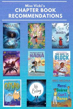 """Don't miss these amazing new chapter books! These excellent titles are perfect for the middle grade crowd. Find more book recommendations for kids by checking out the """"Reading Recommendations"""" playlist on our Facebook page! Chapter Books, New Chapter, Middle School Reading, Library Lessons, Book Recommendations, Crowd, Books To Read, Presents, Facebook"""