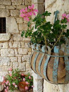 Use burlap to line planter