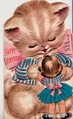 Vintage Hallmark 1950s Happy Birthday To A Dear Little Girl Birthday Greetings Card (B5). $5.00, via Etsy.