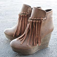 sbicca vintage collection zepp wedge fringe ankle bootie