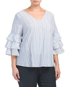 Plus Made In USA Triple Ruffle Tier Blouse