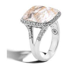 John Hardy Classic Chain Large Diamond & Rutilated Topaz Magic Cut... ($2,195) ❤ liked on Polyvore featuring jewelry, rings, diamond jewelry, topaz jewelry, topaz ring, chain jewelry and chain ring