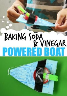 Baking Soda Vinegar Powered Boat STEM Baking soda and vinegar react in this movement and power STEM activity to power a boat made with rec. Summer Science, Stem Science, Science Experiments Kids, Physical Science, Science Fair, Science For Kids, Science Projects, Rock Science, Stem Projects For Kids