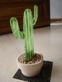 Cactus de vidrio rayado