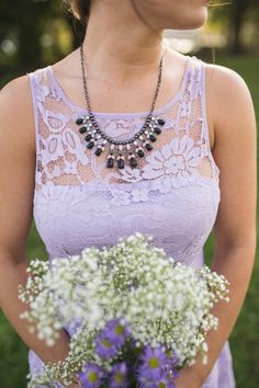 So many things we love about this purple #bridesmaid photo - from the #lace detail, to the necklace and bouquet! {KariMe Photography}