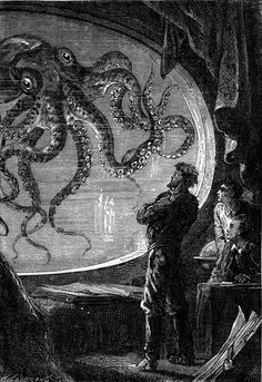 """These illustrations by Alphonse de Neuville and Édouard Riou were produced for the 1871 Hetzel edition of Jules Verne's pioneering sci-fi novel """"Twenty Thousand Leagues Under the Sea. Jules Verne, Meer Illustration, Gravure Illustration, Le Kraken, Motif Art Deco, Leagues Under The Sea, Sci Fi Books, Sea Monsters, Sea Creatures"""