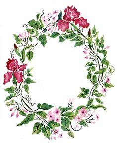 Jasmine and Iris Wreath Wall Stencil by DeeSigns