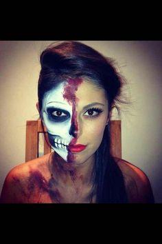 Halloween bloody skull face makeup
