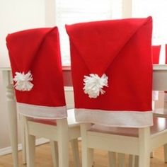 Dress your dining room up for the holiday season with these festive Santa Hat chair covers! Here's how to make your own:Materials:Red fabric (amount needed i. Small Christmas Trees, Christmas Home, Christmas Crafts, Apartment Christmas, Christmas Ideas, Xmas Trees, Elegant Christmas, Christmas Stuff, Holiday Ideas