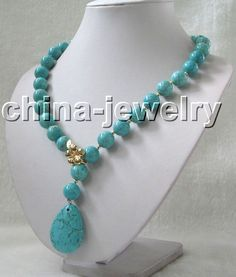 """Beautiful 23"""" 14mm perfect round turquoise necklace-14k #Handmade #StrandString"""