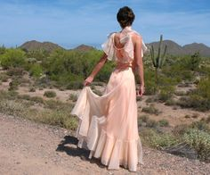 1970s Chiffon Bridesmaid Gown XS to Sm Peach by RunzwithVintage, $55.00