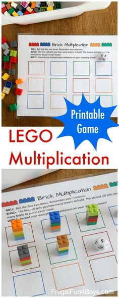 Printable LEGO Multiplication Game! A great free math game for kids! #freemathgames #LEGO