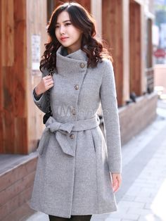 Trendy Gray Cashmere Women's Long Coat - Milanoo.com