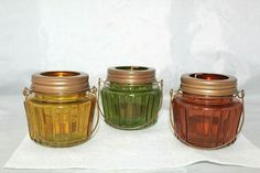 Amber Green Yellow Colored Ridged Glass Candle Holders w/Wire Bale Handles- #Unbranded #VintageRetro Antique Glass Bottles, Glass Candle Holders, Retro Vintage, Amber, Mason Jars, Wire, Handle, Yellow, Antiques