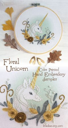 You will love stitching up this beautiful and unique unicorn hand embroidery hoop art. Discover this and many more perfect stitching projects at littledear.etsy.com Embroidery Sampler, Hand Embroidery Patterns, Beading Patterns, Embroidery Stitches, Machine Embroidery, Embroidery Designs, Kit S, Stitch Witchery, Embroidery Techniques