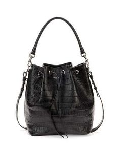 Medium Croc-Print Bucket Shoulder Bag, Black by Saint Laurent at Neiman Marcus.