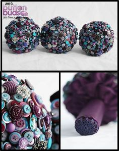 Button Bouquets  Purple, Lilac, Blue, Turquoise    Nic's Button Buds - www.mybuttonbouquet.com.au   For the bride that dares to be different Button Bouquets, Brooch Bouquets, Mixed Media Bouquets & other wedding accessories.  www.facebook.com/nicsbuttonbu